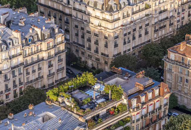 France, 7th arrondissement of Paris, view from the Eiffel Tower, buildings of rue Elysee Reclus and rue du Marechal Harispe, garden on a roof)