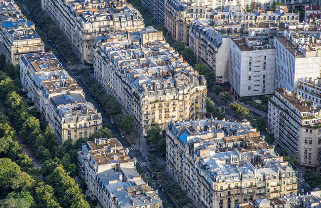 August 9, 2017: France, 7th arrondissement of Paris, view from the Eiffel Tower