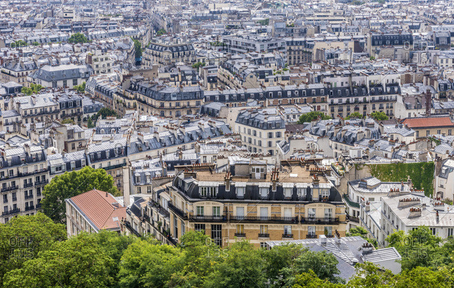 France, 18th arrondissement of Paris, Clignancourt district, view from the Dome of the Basilica of the Sacred Heart of Paris