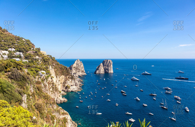 View of the sea from the heights of Mount Solaro, Anacapri, Capri Island, Naples area, Italy