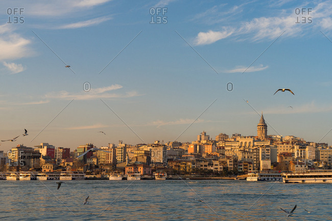 March 1, 2018: Galata district at sunset, Istanbul, Turkey