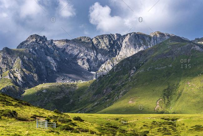 France, Hautes-Pyrenees, col de la Hourquette d'Ancizan (1564 meters high), between the Vallee d'Aure and the Vallee de Campan, pastoral zone