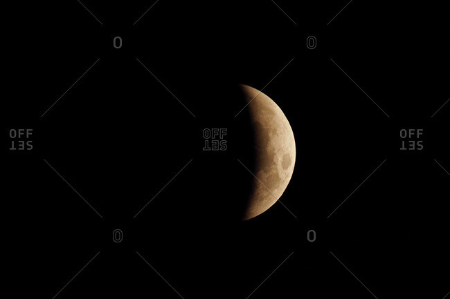 Seine et Marne. Total lunar eclipse of January 21, 2019. Partial phase before totality.