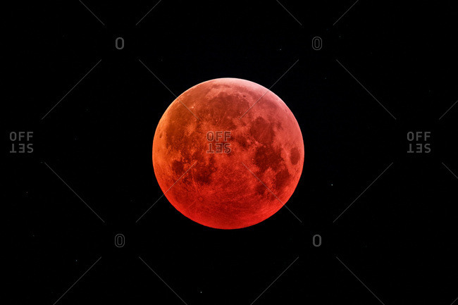 Seine et Marne. Total lunar eclipse of January 21, 2019. The totality. Image receiving a special treatment to highlight contrasts on the surface of the eclipsed Moon.