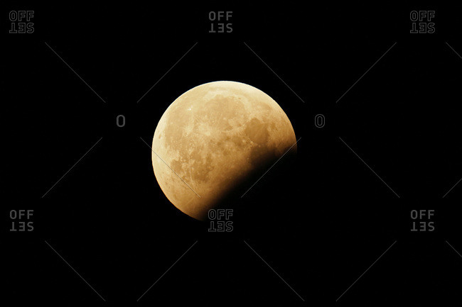 Seine et Marne. Total lunar eclipse of 21 January 2019. End of the partial phase after the totality.