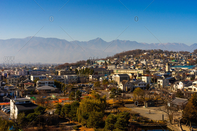 December 2, 2018: View on Japanese Alps from Matsumoto castle, Nagano prefecture, Honshu, Japan.