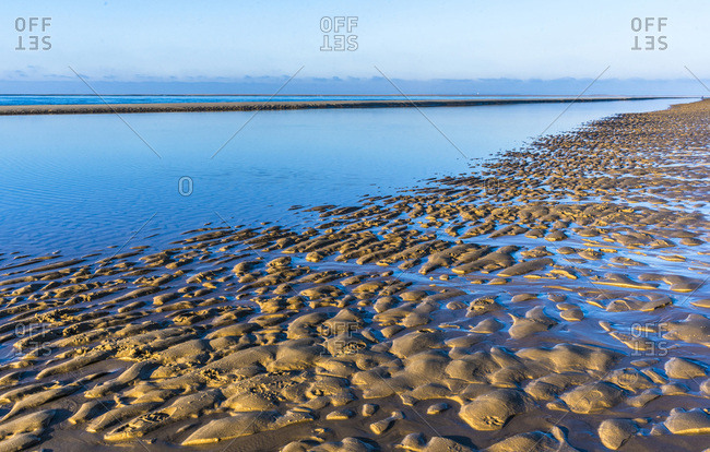 France, New Aquitaine, Arcachon Bay, Petit Nice beach at low tide