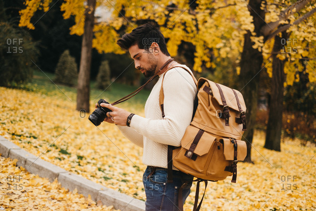 Side view of handsome young photographer standing in autumn park and watching pictures on camera