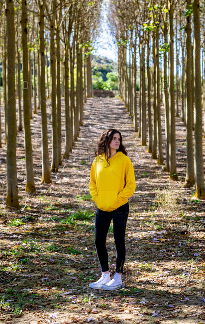 Beautiful young female standing in yellow sweatshirt on nature background and looking away