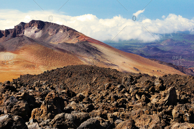 Volcanic landscape in wild deserted area