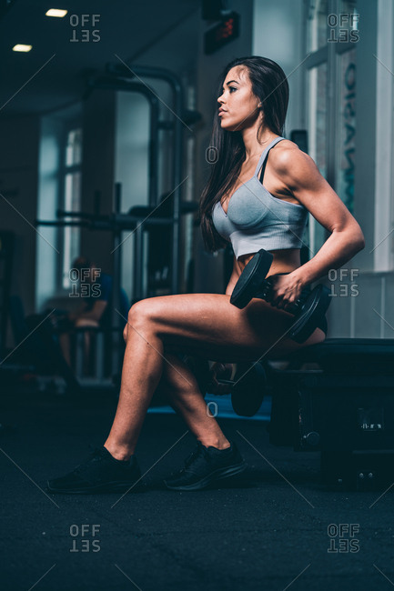 Side view of young athletic woman in sportswear picking up big heavy dumbbells in gym while sitting on bench