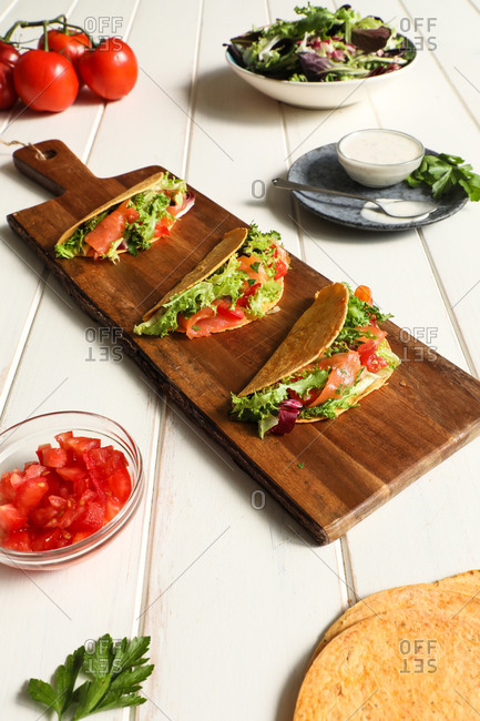 Board with vegan tacos