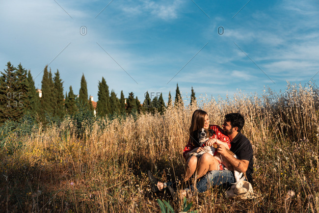 Smiling cheerful couple sitting among high grass and having fun with little dog in countryside