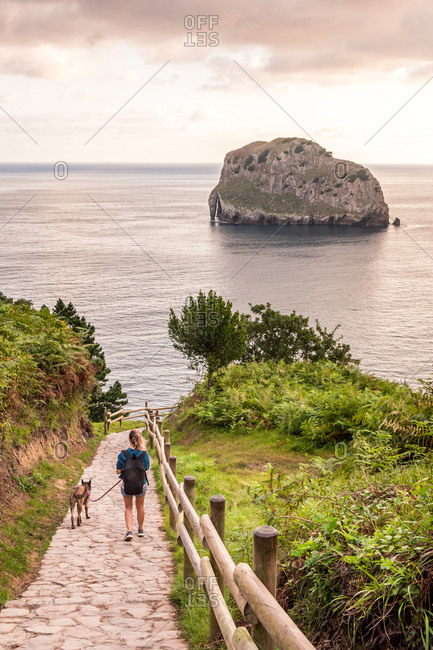 Back view of woman with dog walking on path among picturesque nature of seashore at sunset