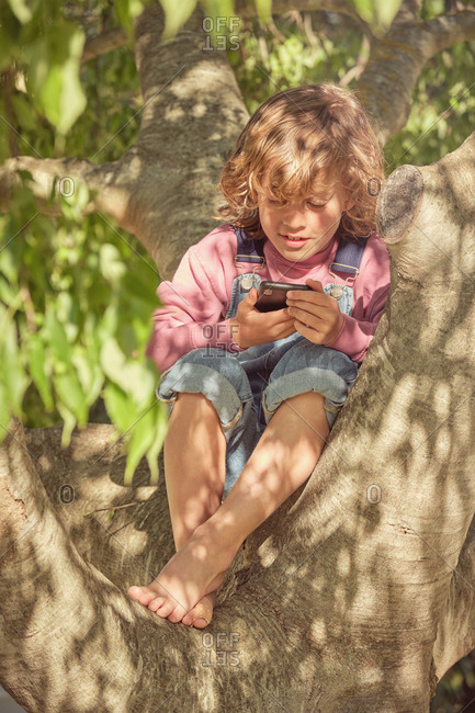 Thoughtful cute child climbing tree and spending time with mobile phone in bright day