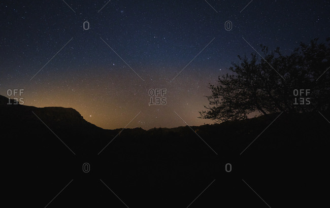 Silhouette of trees and mountains on background of mysterious starry sky at night