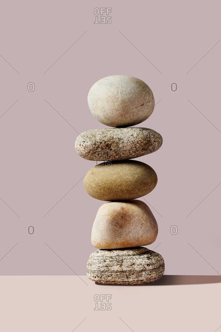 Stack of stones balancing
