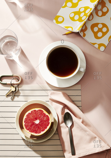 Overhead view of a healthy morning breakfast
