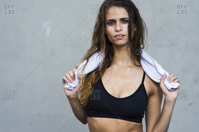 USA, NY, Brooklyn - August 21, 2014: Portrait of fitness model in Brooklyn, New York.