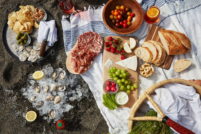 Overhead view of picnic with fruit, bread and oysters
