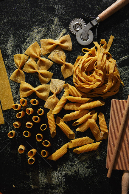 Overhead view of a variety of homemade pasta