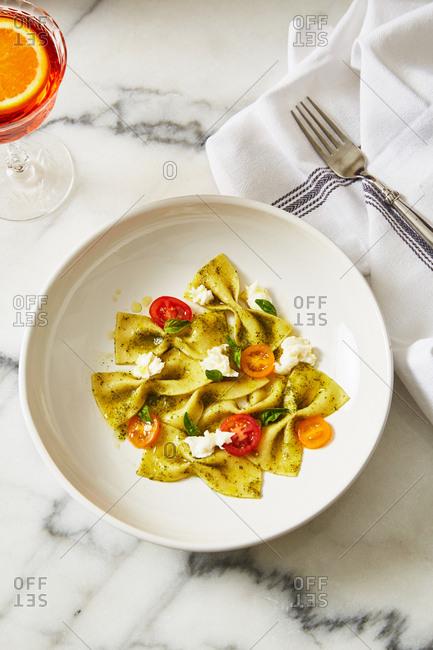 Homemade bowtie pasta dish