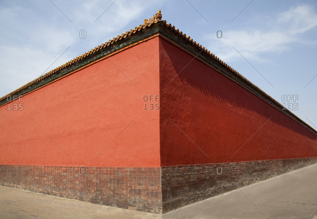 The red walls of the Forbidden City Palace Complex, Beijing, China