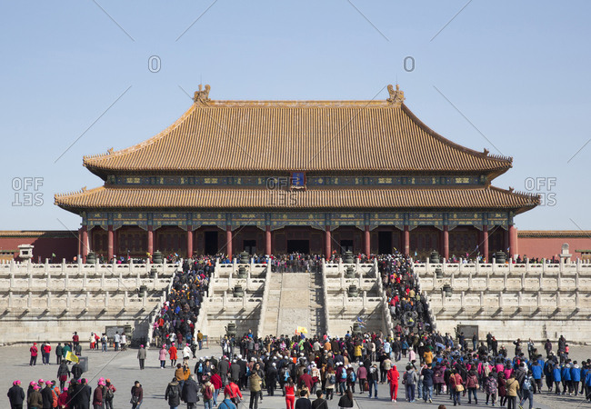 Beijing, China - March 22, 2016: Forbidden City palace complex large groups of Chinese tourist visiting the palace complex