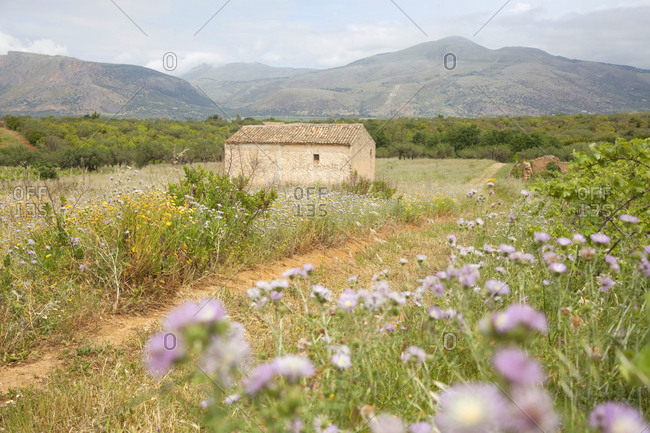 Old farmhouse abandoned in central mountain region, Sicily, Italy