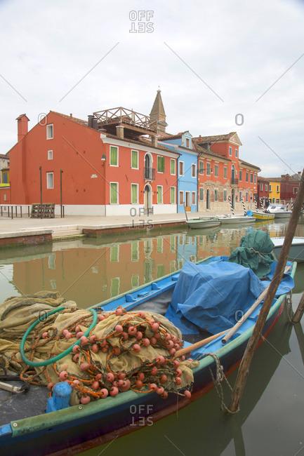 Fisherperson's gear in boat, Burano Island, Venice, Italy