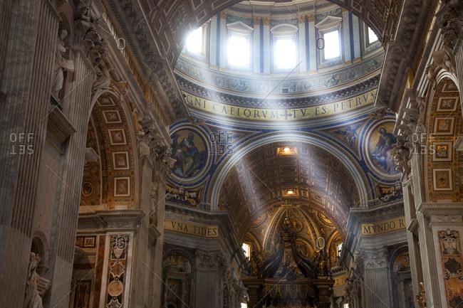 Rome, Italy - May 5, 2012: Vatican City St Peters Basilica interior