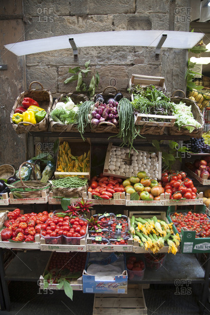 Florence, Italy - July 17, 2008: Fruit and vegetable market place