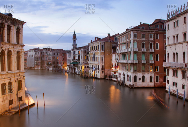 Venice, Italy - May 13, 2012: Grand canal at dawn