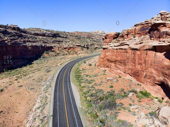 Curving road in Canyonlands National Park, Utah, USA