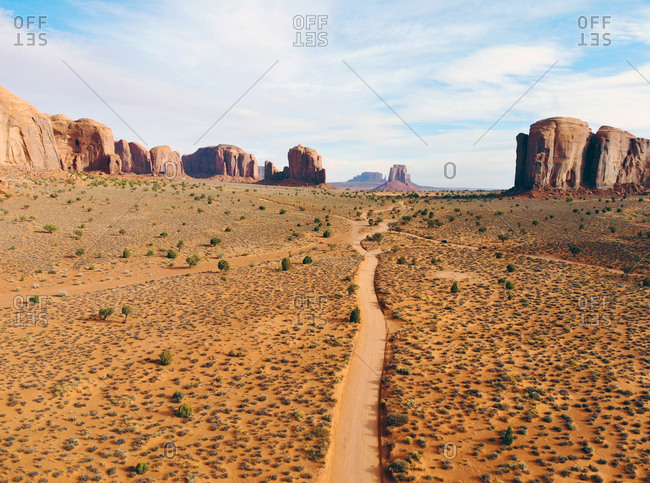Path leading to canyons in Monument Valley Navajo Tribal Park, Utah, USA