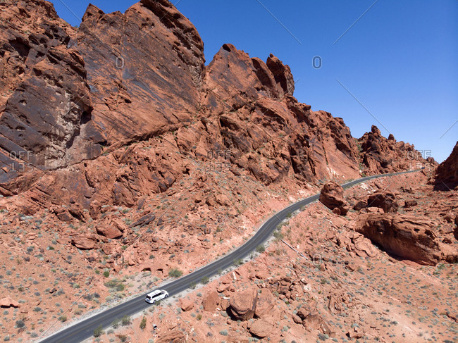 Car on highway in Valley of Fire Park, Las Vegas, Nevada