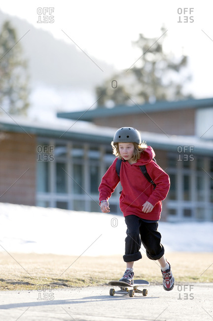 A boy skateboards in Lake Tahoe, California.