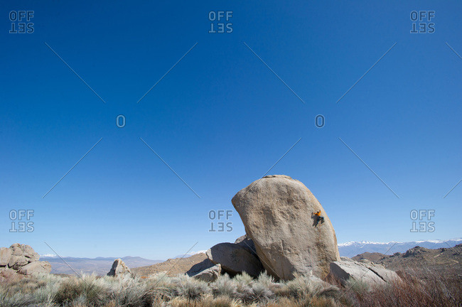 A man sport climbs in Bishop, California.