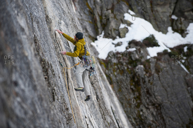A man climbs The Line (5.9) at Lover's Leap in Lake Tahoe, California.