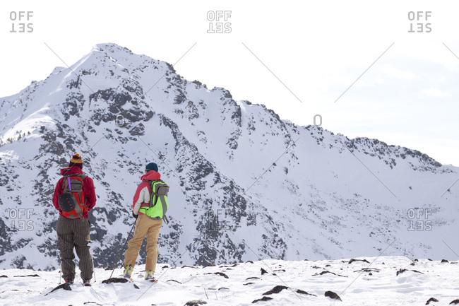 Two backcountry skiers in Pony, Montana.