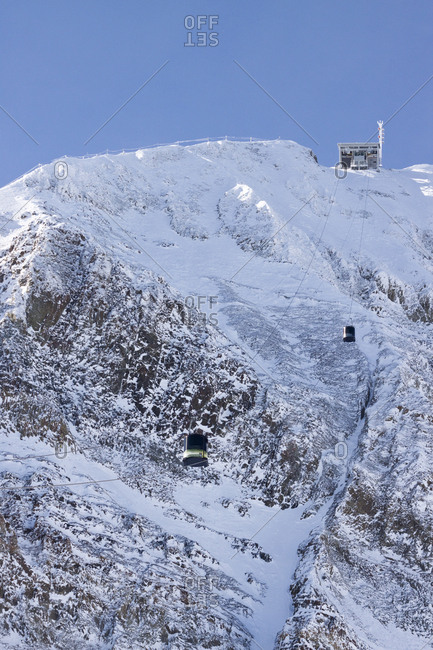 The Lone Peak Tram climbs to the summit of Lone Peak at 11,166 feet at Big Sky Resort.
