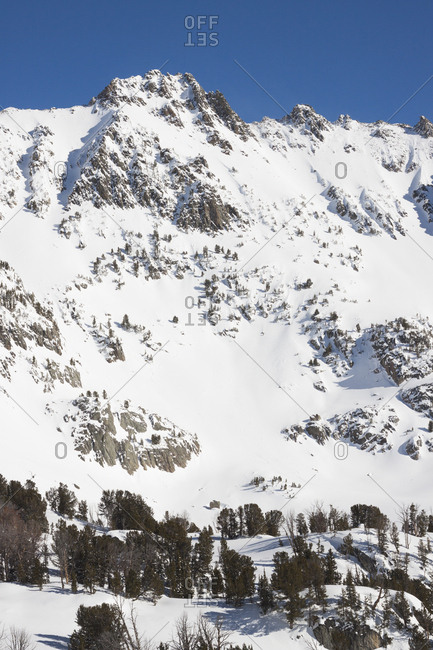The sun shines bright on a fresh slope in the Beehive Basin near Big Sky, Montana.