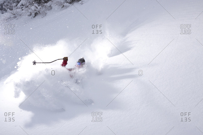 A Skier Get Buried In A Powder Snow During A Stormy Day In Whitefish, Montana, Usa