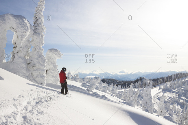 Male Skier Standing On Snowy Landscape In Whitefish, Montana, Usa