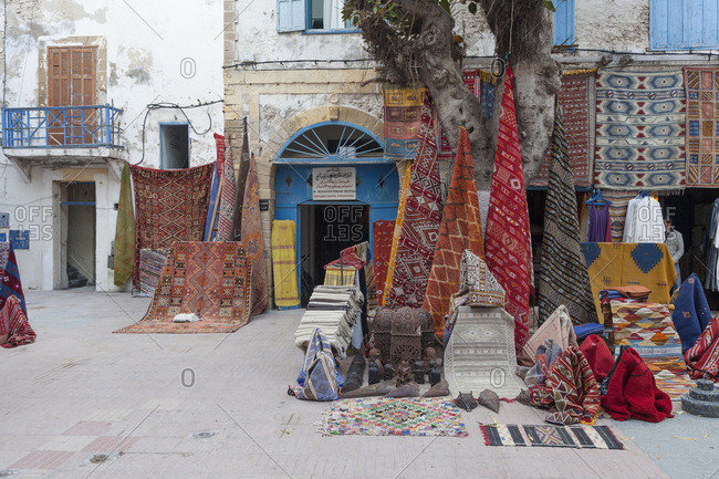 Morocco, morocco, Essaouira - April 16, 2013: Typical Moroccan carpet on sale in the old city medina of Essouira