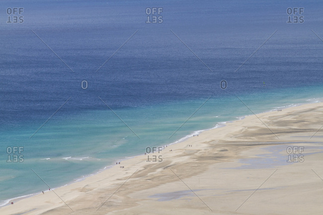 Aerial view of Fuerteventura's famous Sotavento beach. Clear blue water and no people make this beach one of the most famous in Europe.