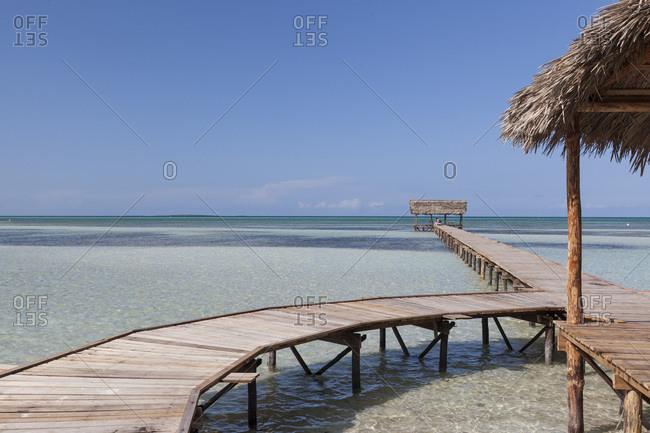 Wooden jetty in Cayo Guillermo, Cuba