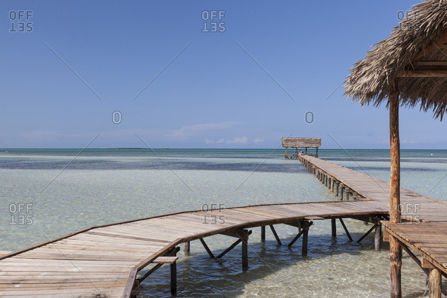 Wooden jetty in Cayo Guillermo, Cuba