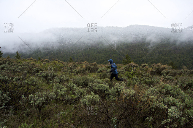 A man runs during a snow and rain storm for excercise.