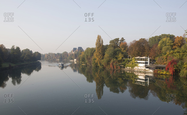 View down river to boat and �